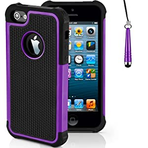 Mobile-Heaven Apple iPhone 5 5S Premium Purple Shock Proof Case Cover Includes Screen Protector, Cleaning Cloth And Stylus Pen