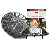 Tuli Kitchen Stainless Steel Vegetable Steamer with silicone feet - includes free Ebook
