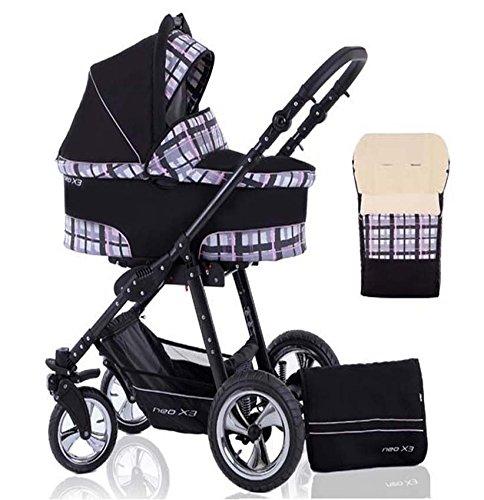 2 in 1 Kinderwagen Neo X3 - Kinderwagen + Sportwagen + Fußsack + GRATIS ZUBEHÖR in Farbe Schwarz-Pink-Groß Kariert