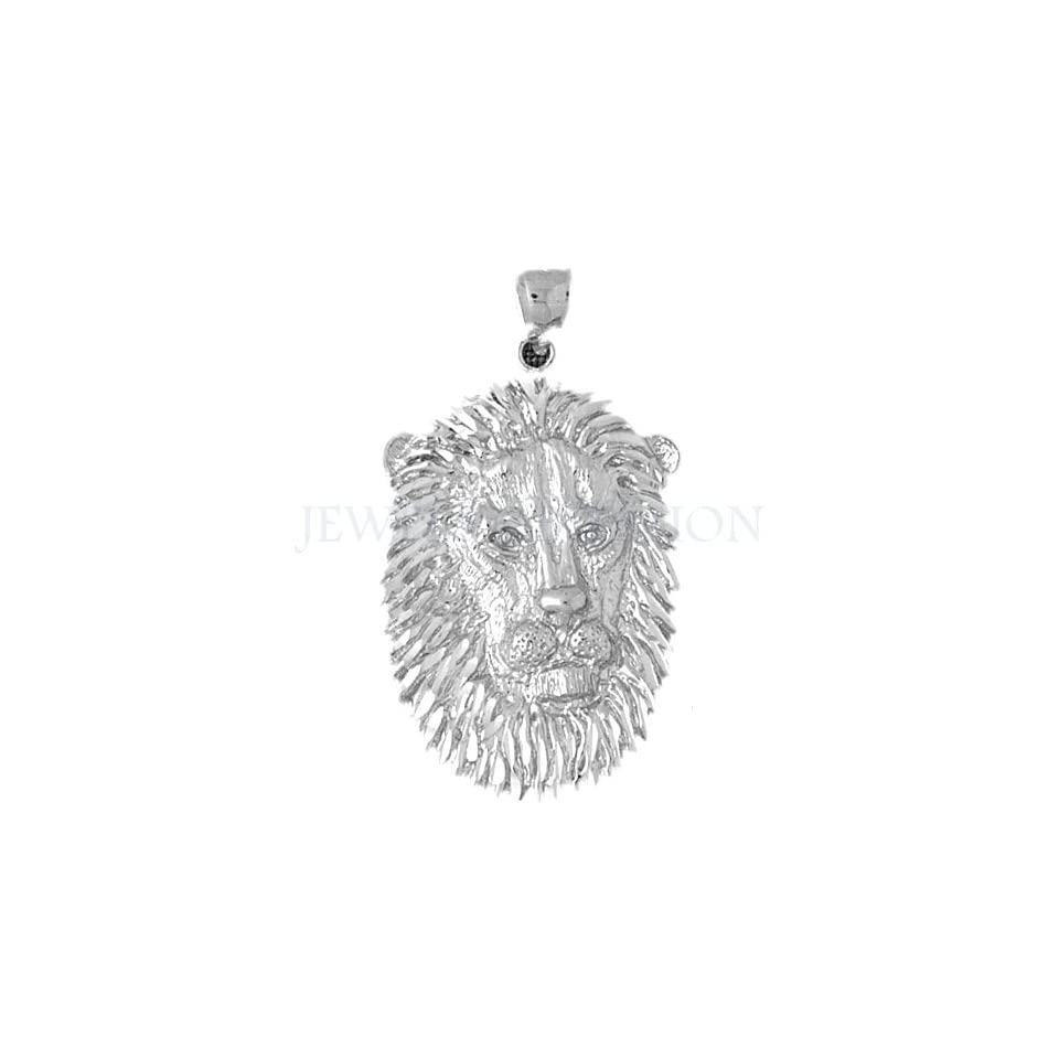 14K White Gold Lion Head Pendant   48 mm (approx. 11.4 grams)