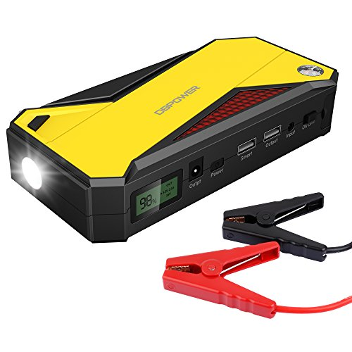 DBPOWER 600A Peak 18000mAh Portable Car Jump Starter (up to 6.5L Gas, 5.2L Diesel Engine) Battery Booster Phone Charger with Smart Charging Port, Compass, LCD Screen and LED Light (Black/Yellow) (Battery For Car Starter compare prices)