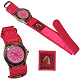 Kinderuhr Pferd mit Klettband / Stoff Armband pink rosa - Uhr Kinder Armbanduhr Tier Tiere Pferde Analog