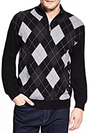 Blue Harbour Extrafine Pure Lambswool Argyle Zipped Jumper [T30-2433B-S]
