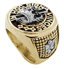 buy Silver/Gold Tone York Rite Of The Masonic Mason Order. Hoc Signo Vinces Men'S Ring Size 10 #3