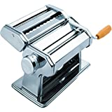 Pasta Maker Machine Made of Heavy Duty Stainless steel - 3 Blades - Great for Making Spaghetti, penne , angel hair, Fettucine - Wood Grip Hand Crank