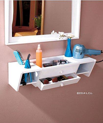 Curling Iron Holder, Blow Dryer Holder, Makeup Holder, Comb & Brush Holder, Bathroom Wall Vanity Organizer (White) front-55699