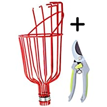 Fruit Picker Harvest Tool Kit: Basket Head & Garden Bypass Pruning Shears By Quality Choices
