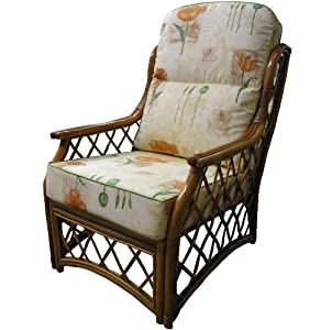 Replacement Cane CHAIR CUSHIONS ONLY Conservatory Furniture Wicker Rattan by Gilda® - Stunning Fabric Choice Cotton & Chenille with Piped Edges (Bayswater Autumn with Sage Piping) by Gilda Ltd
