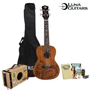 Amazon.com: Luna Guitars Tattoo Concert Electric Ukulele