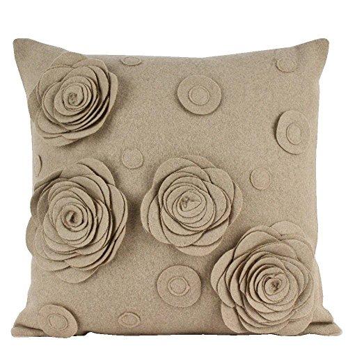 Sanaa, Hand Cut Felt Floral Cushion Cover, Beige, 40x40 Cms