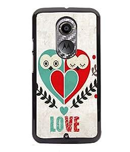 PRINTVISA Love Bird Premium Metallic Insert Back Case Cover for Motorola Moto X2 - D5722