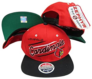 Louisville Cardinals Diagonal Script Red Black Two Tone Plastic Snapback Adjustable... by Zephyr