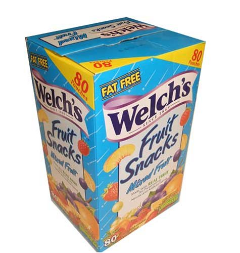 Welch's Fruit Snacks, Mixed Fruit, Fat Free Snacks, (80-0.9oz. Pouches Per Box) (Gourmet,Welch's,Gourmet Food,Candy,Gummy Candies)