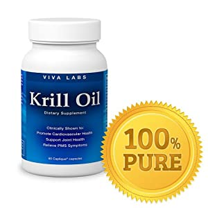Viva Labs Krill Oil (Formerly Everest Nutrition): 100% Pure Cold Pressed Antarctic Krill Oil - Highest Levels of Omega-3s in the Industry, 1250mg/serving, 60 Capliques