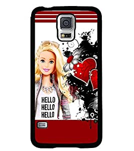 Fuson Premium Hello Girl Metal Printed with Hard Plastic Back Case Cover for Samsung Galaxy S5 Mini