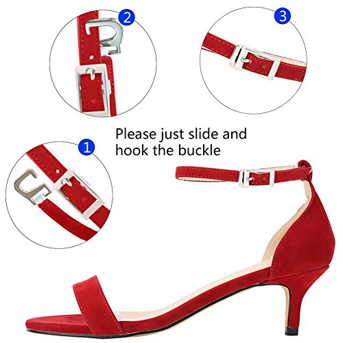 Zbeibei Women's Mid Heels Open Toe Faux Velvet Summer Shoes Buckle Up Sandals(ZBB1051VE39,red)