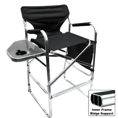 An affordable Deluxe Tall Folding Directors Chair Foldable Chair with Side Ta