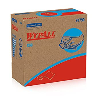 """WypAll X60 Reusable Wipers (34790) White, 9.1"""" Width x 16.8"""" Length (Case of 10, 126 Wipers per Pop-Up Box)"""