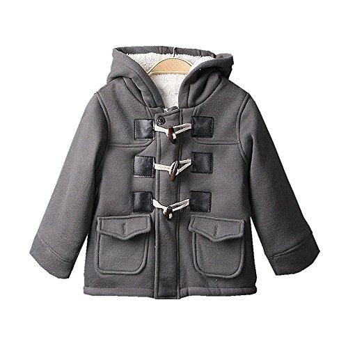Baby Boys Cotton Fleece Hooded Jacket Outerwear Duffle Coat (6-12 Months, Gray)