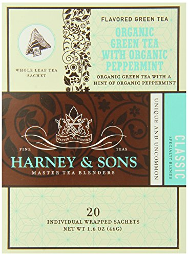 Harney And Sons Organic Green With Mint Tea, 20 Count (Pack Of 6)