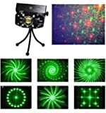 Lightahead® LED Projector Strobe flash Holographic Disco party Lighting Light Mini Portable Voice-activated Version with tripod for Club Dj Disco Bar Stage House etc (6 Patterns)