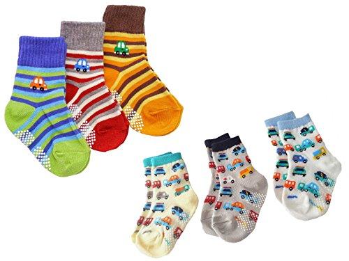 bambino-confezione-da-6-caviglia-polpaccio-calze-anti-scivolo-automobili-a-righe-orso-marinaio-ankle