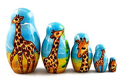 Matryoshka Matrioska Babuska Russian Nesting Wooden Doll Family of Giraffes Matreshka Babooshka 5 Pc Stacking Hand Painting Beautiful Nested Matriosjka Matrioska Matreshka Matrjoska Matroeska