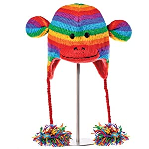 Knitwits Delux Rainbow Sock Monkey Children's Wool Knit Beanie