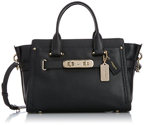 coach-handbag-ladies-zip-closure-removable-shoulder-strap-female-black