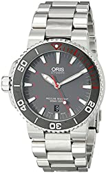 Oris Men's 73376534183MB Aquis Analog Display Swiss Automatic Silver Watch