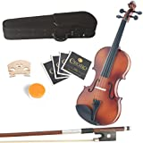 Mendini 15-Inch MA350 Satin Finish Solid Wood Viola with Hard Case, Bow, Rosin, Bridge and Extra Strings