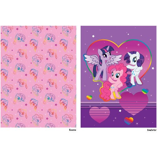 my little pony 4pc twin comforter and sheet set bedding. Black Bedroom Furniture Sets. Home Design Ideas