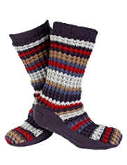 Basket Stitch Cut & Sew Knitted Slipper Socks