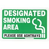 "Brady 103844 Plastic, 14"" X 10"" Legend ""Designated Smoking Area Please Use Ashtrays"""