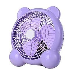 Generic Quiet USB Desk Fan Bear Shaped 7 inches Purple