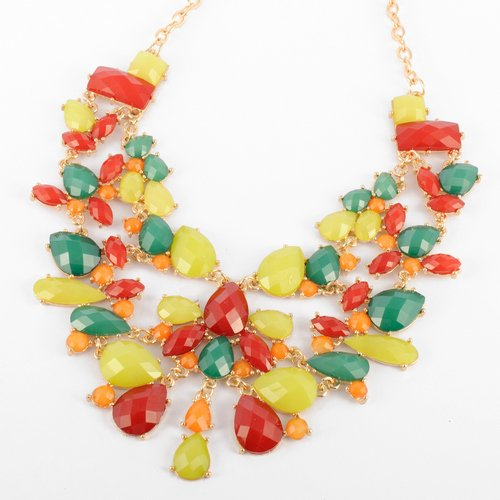 Fashion Gold Chain Colorful Water Drop Resin Beads Hollow Pendant Statement Necklace