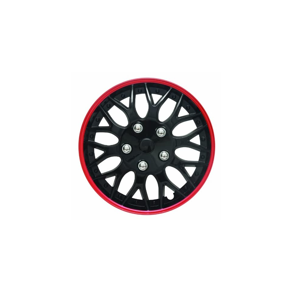 14 Black and Red Lacquer/Plastic Wheel Cover Hubcaps, Pack of 4  7043