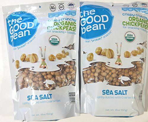 The Good Bean Sea Salt Flavor Crispy Crunchy Organic Chickpeas, 18 Ounce (Pack of 2) (Chick Peas Roasted compare prices)