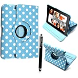 "FOR AMAZON KINDLE FIRE HD 7"" VARIOUS PU LEATHER WITH SLEEP/WAKE STANDBY MAGNETIC CASE COVER POUCH + STYLUS BY GSDSTYLEYOURMOBILE (Sky Blue Diamond Flip)"