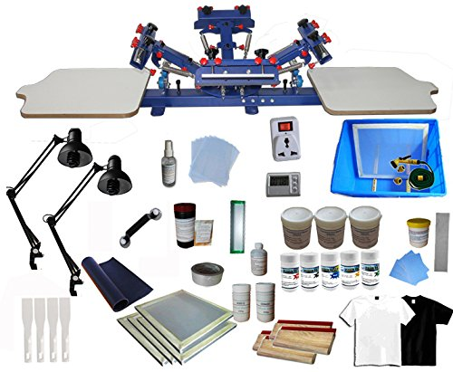 INTBUYING 4 Color 2 Station Screen Printing Machine Press Kit T-Shirt Printing Kit