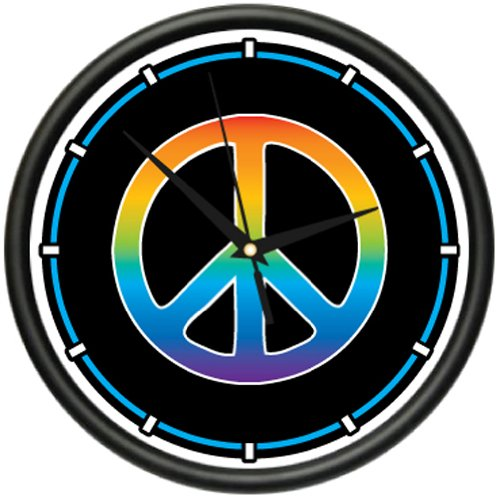 PEACE SYMBOL Wall Clock sign hippie tied dye art gift
