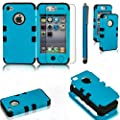 Fulland Deluxe Hybrid Tuff Combo Rugged Rubber Matte Hard Case Cover For Apple iPhone 4 4S 4G Plus Stylus Pen & Screen Protector-Blue/Black