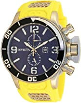 Invicta Corduba GMT Blue Dial Stainless Steel and Yellow Rubber Mens Watch 80219