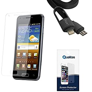 Qualitas Ultra Clear Pack of 4 Anti-Glare Anti-Scratch Anti-Fingerprint Screen Protector for Huawei Honor Holly + 2-in-1 Lightning Cable with 8 Pin and Micro USB Connectors