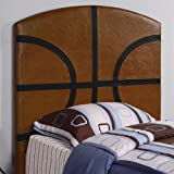Kids Youth Bedroom Ultra Fun Sports Twin Size Basketball Headboard In Brown Black Finish. (Coaster Furniture 460166)