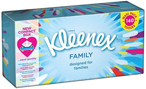 Kleenex tessuti del viso per famiglie, 140 salviette per scatola, 5 scatole