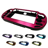 HOT PINK PlayStation PS VITA Aluminum Brushed Metal Plated Plastic Crystal Case Skin Protector Cover + Free Screen Protector (Many Colors Available) (HOT PINK)