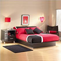 "Hot Sale South Shore Furniture, Basic Collection, Queen Platform Bed with Moulding 60"", Black"