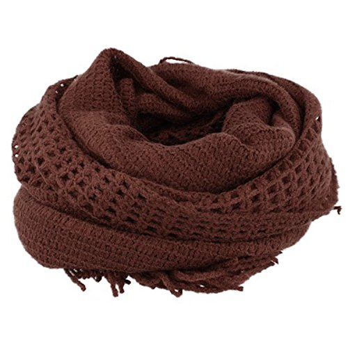 Morbido, schöner sciarpa lavorata a maglia unisex, 130x 55cm, tinta unita marrone Taglia unica