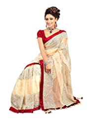Temptingg Fashions Beige Net Bollywood Embroidery And Lace Border Saree